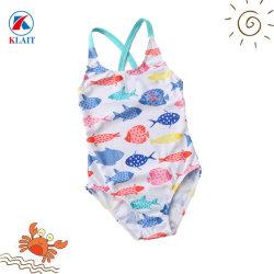 Оптовая торговля рыба из одного куска печати синий нейлоновый купальный костюм для детей