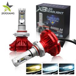 Vente en gros trois couleurs imperméable 6000lm H7 Auto de remplacement des ampoules LED phare H4, lampe de projecteur LED 12 V