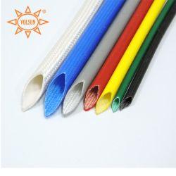 Manches en fibre de verre de silicone à l'extérieur en caoutchouc de silicone tressé en fibre de verre