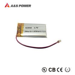 UL goedgekeurd Diep Polymeer van het Lithium van de Cyclus 422040 de Batterij van het Polymeer van Li 280mAh 3.7V voor Hoofdtelefoon Bluetooth