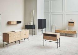 Mobiliário moderno mobiliário em madeira de cerejeira Sala Escura Sideboard de armazenamento