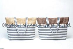 タッセルトートバッグファブリックスピルシングトラベルバッグラージ入りストライプ Capacity Shopping Bag Folded Water - Summer Beach Bag の洗濯