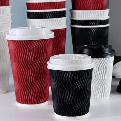 8oz 12oz 16oz personnalisés mur de l'ondulation de tasse de café jetables en papier