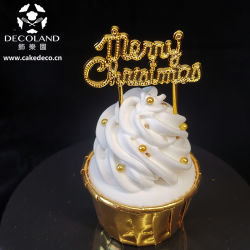 Feliz Natal de plástico de ouro de coleta de bolo