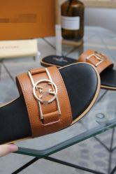 Faites glisser à fond plat confortable, importés de cuir, importées à l'intérieur de la peau de chèvre Classic monogramme Concepteur de gros Mesdames pantoufles Lady sandales