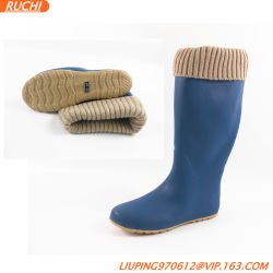 Novo estilo moderno de tafetá Colar Lady botas de borracha meados de alta Botas de chuva