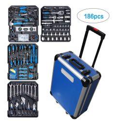 186PCS populaire Trolley Aluminium Case Home hand gereedschapsset