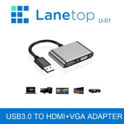 USB 3.0, VGA адаптер кабеля USB3.0 многопортовый дисплей с двумя выходами 1080P Audio Video Converter