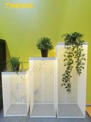 Onenoe caso claro de alta calidad de organizador Elegante Caja Cubo rectángulo el polvo, pantalla LED de malla metálica en caso de soporte 3 en 1 sets para showroom Oficina balcón
