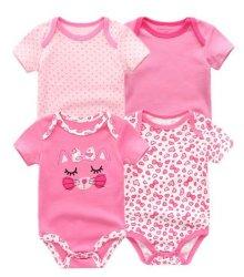 4PCS/много детского Romper мальчик девочек короткие рукава Cute летом печати одежду, Roupa Menina хлопок одежды для новорожденных