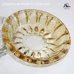 Vergoldung-Rauch-hitzebeständiger großer Kristallzigarre-Glasaschenbecher