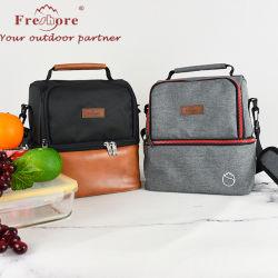 L'École réutilisables personnalisés Double Deck sac à lunch des enfants Les enfants isolés à isolation thermique en toile déjeuner sac fourre-tout