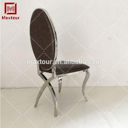 Hôtel de luxe sans chaise de salle à manger de l'accoudoir jambes chaise de salle à manger en acier inoxydable
