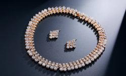 女性の高品質CZのネックレスの花嫁の宝石類のネックレス花嫁CZのネックレスの一定の方法ネックレスのための方法CZの宝石類の結婚式CZの宝石類セット