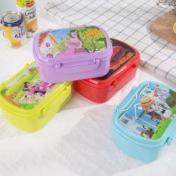 2つのコンパートメントBentoのスプーンを持つ子供のためのプラスチックお弁当箱