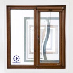 Finestra della stoffa per tendine del Alluminio-Legno con la rete di zanzara
