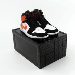 Claro apilables cajas de plástico de Nike magnético gota transparente acrílico delantera caja de zapatos de almacenamiento con el logotipo personalizado