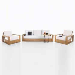 Luxo clássico de teca conjunto moderna sala de estar de Braço Pine Longue móveis de madeira Otomano Sofá