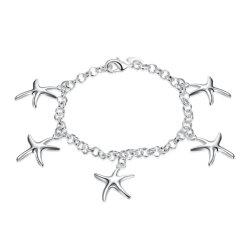 Новая конструкция пять Starfish форма пульта управления браслет серебряный позолоченный очарование браслет украшения