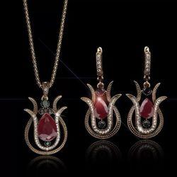 Tulip goutte d'eau Collier cristal de résine et le Clip Earrings Set Vintage turc plaqué or Bijoux Set ESG13416