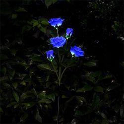 Solar de LED 5 Chefe Rose Lâmpada impermeável ao ar livre da Luz do Dia dos Namorados banda decorativa