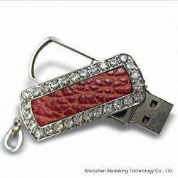 Las unidades flash USB de cuero joyas Swivel USB Stick