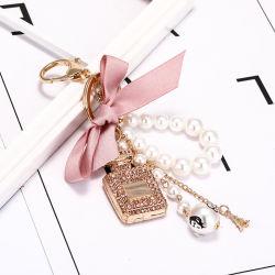 Moda Pendente artesanal criativa Bow Pearl Encanto com liga de vaso de perfume Diamante Chaveiro