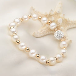 Beads Bracelet (E150031)の7-8mm Round Natural Freshwater Real Pearl