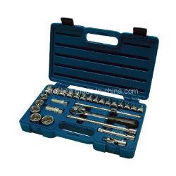27 piezas estándar (SAE) y métricas conjunto de herramientas de mecánico con estuche duro