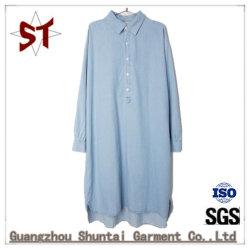 Vestito lungo casuale dal denim della camicia delle signore di modo con cotone