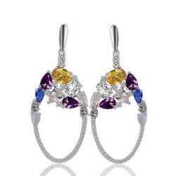Modische Dame-Schmucksachen bunte 925, die silberne CZ abfallen, baumeln Ohrring-Diamant-Leuchter-Ohrringe
