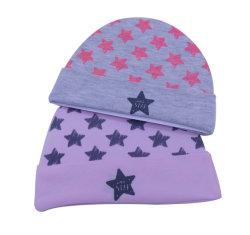 星プリント100%連結の綿の新生の赤ん坊の帽子の幼児帽子の病院の帽子