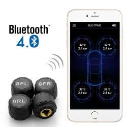 Carro Alarme de Pressão de Pneu Digital Bluetooth do Sistema de Monitor 4.0 TPMS com 4 Suporte do Sensor Externo Aplicativo Telefone
