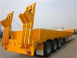 L'essieu à plat Lowbed Cimc 3 camion lourd 60tonne faible réservoir lit conteneur semi-remorque du tracteur