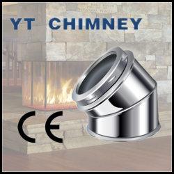 6'' (150mm) double paroi en acier inoxydable 45degré coude de cheminée isolé