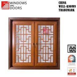 Finestra di legno di vetro personalizzata calda della stoffa per tendine di profilo della lega dell'alluminio/alluminio del doppio di alta qualità di prezzi di fabbrica di vendita con la griglia