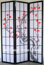 De color negro de la impresión de papel de arroz Non-Woven Popular y de Madera plegable de estilo japonés Shoji divisor de espacio en la pantalla con el patrón de flor de ciruelo Panel X 3