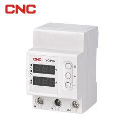 CNC Hot Sell Yc9va guida DIN 230 V 1A-63A protezione da sovratensioni Dispositivo di protezione da sovratensione e sottotensione con tensione e corrente Display LCD