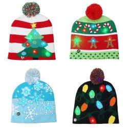 Светодиодный индикатор на Рождество Red Hat теплый яркие красочные Xmas трикотажные колпачок с елки сахарного тростника строка со снежинкой освещение декор подарки