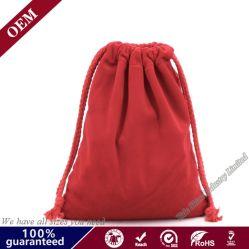 Lienzo reciclable Bolsa de algodón Bolsa de golosinas regalos de Navidad de la bolsa de cadena larga de color rojo