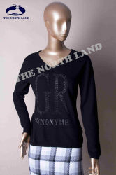 Ladies Cashmere Fashion Neck Pullover with Crystals