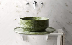 고품질 벽 지면 목욕탕 상단 물동이 디자인을%s 닦는 자연적인 돌 석판 Verde Ming 녹색 대리석