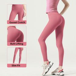 Comercio al por mayor Hot Pink Nylon Spandex pantalones de yoga para mujeres gimnasio ropa deportiva, cintura alta Squat ejercicios prueba Leggings, descansando la ejecución de Panties