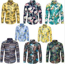 2020 moderno de moda masculina de Outono mais casual de Manga Longa praia Havaiana Camisa Floral Flores impresso