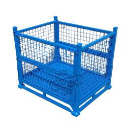 Cage de rangement pour conteneur de palettes en métal empilable pour entrepôt pliable