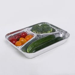 3 Habitáculo Alimentos descartáveis de papel alumínio bandejas com tampas