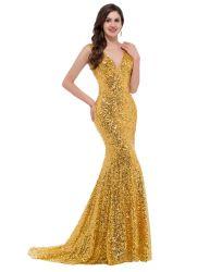 Сарафан вечерние платья Vneck долго Gold вечерние платье