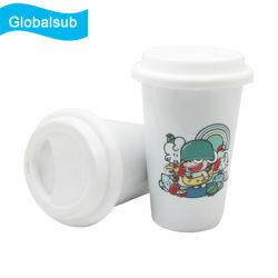 كوب قهوة سفر بسحطٍ مزدوج مصنوع من السيراميك الأبيض المسلطي سعة 11 أونصة مع غطاء