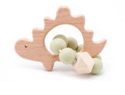 1PC hölzerner Teether Igel-Häkelarbeit-Raupe-Holz-Fertigkeit-Ring gravierte Raupe-Baby Teether hölzerne Spielwaren für Baby-Geklapper