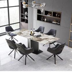فندق حديث مستطيل الشكل من السيراميك قاعدة معدنية طاولة طعام بغرفة المعيشة